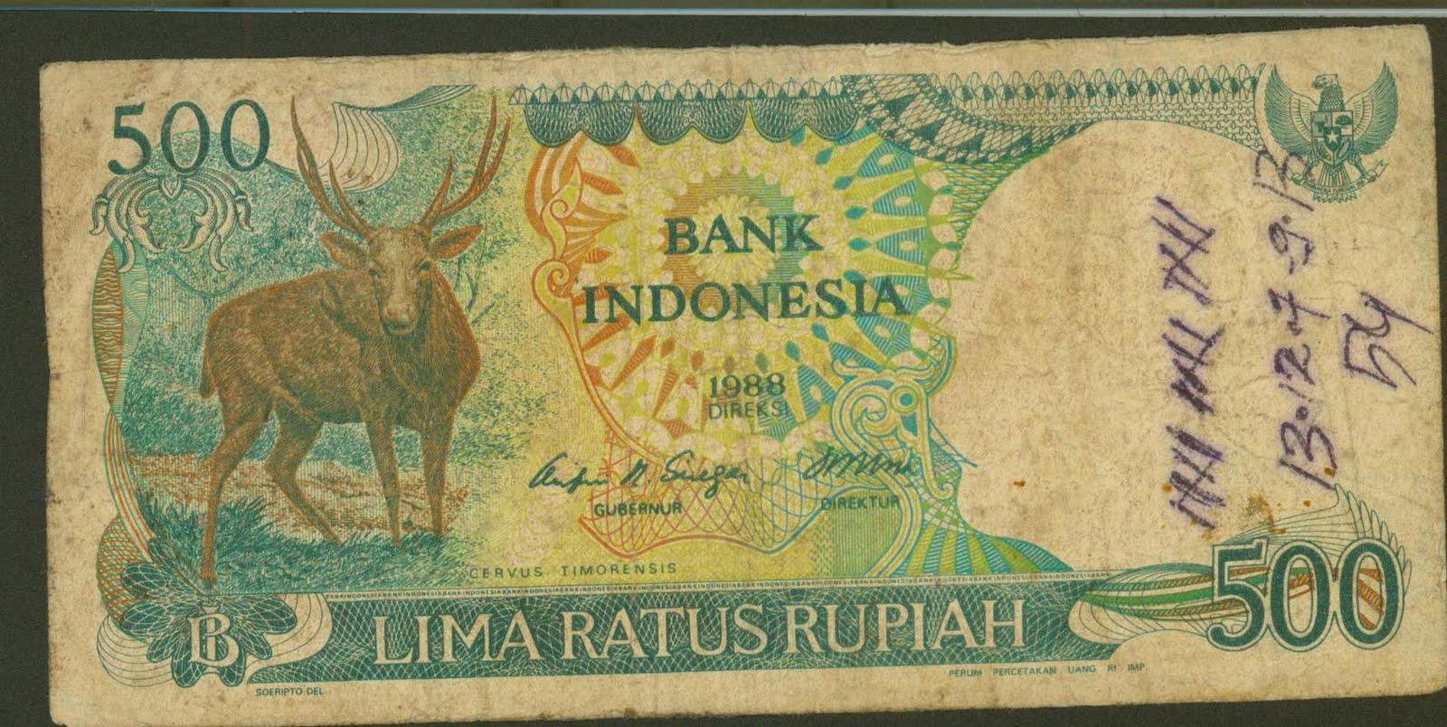 Bagian depan uang kertas lama Indonesia ini bergambar Rusa ( Cervus