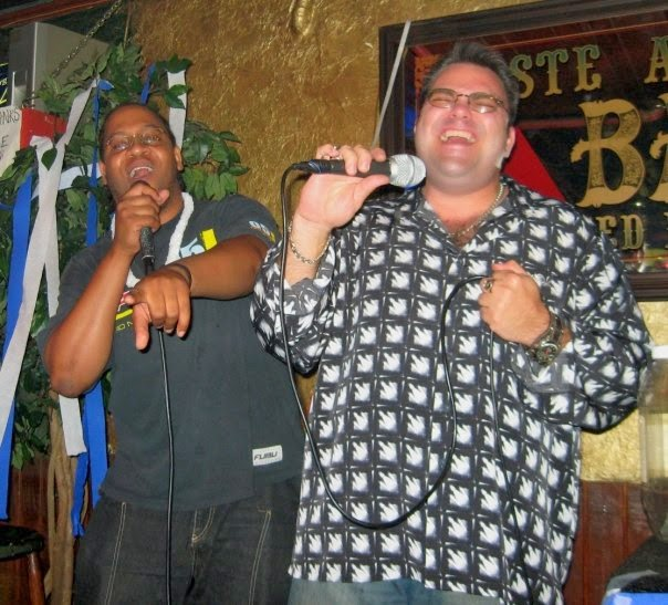 Singing karaoke at Big Daddy's in Audubon Park, Orlando