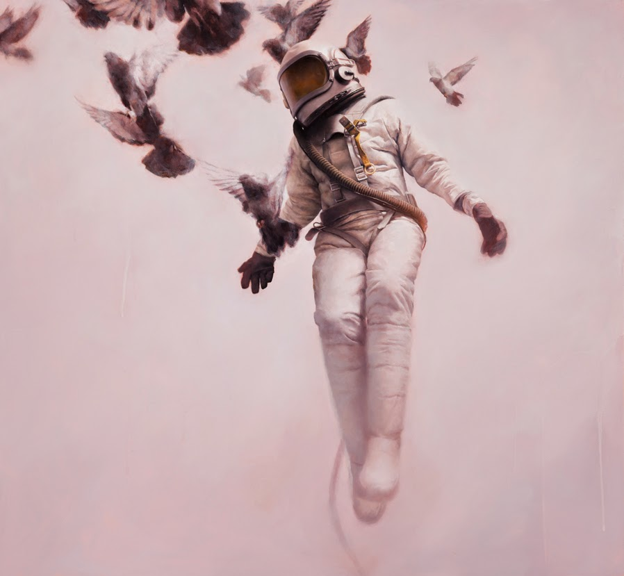 14-The-White-Cosmonaut-Jeremy-Geddes-Body-Weightlessness-in-Surreal-Paintings-www-designstack-co
