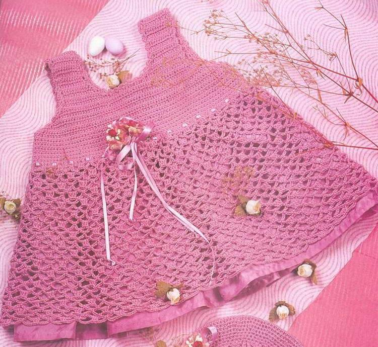 baharlik fileli tig orgusu pembe orgu elbise modeli 2012 Elörgüsü elbiselr, tığ işi bebek elbise çeşitleri örnekleri, yeni şişle işlenen kız bebek elbise modelleri örnekleri