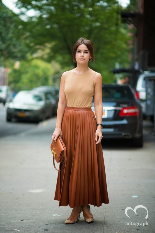Miroslava Duma wears Celine Skirt and Helmes Bag at New York Fashion Week