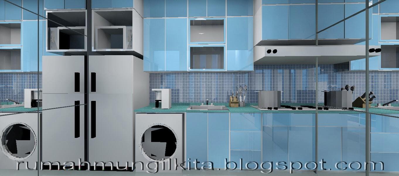 kitchen set dapur mungil minimalis biru putih dengan kaca besar