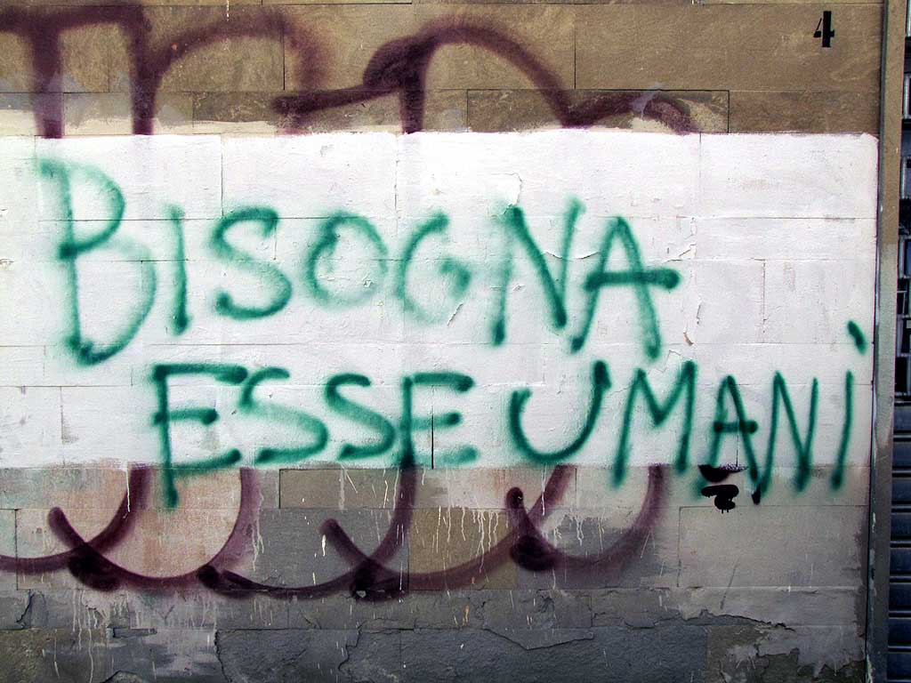We ought to be humane graffiti, Livorno