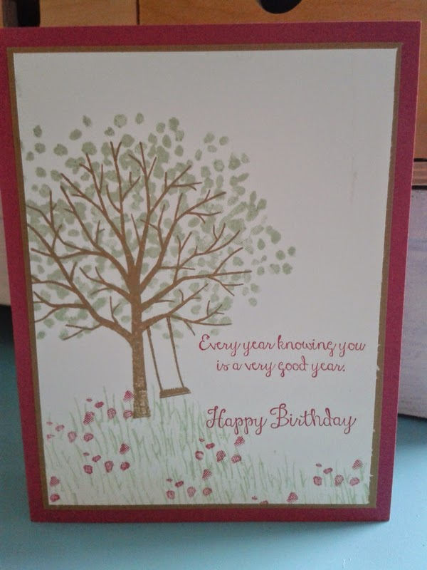 handmade card, stampin up, birthday, sheltering tree