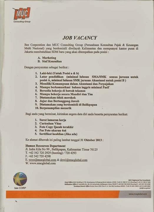 Loker Marketing dan Staf Konsultan MUC Global Balikpapan