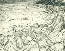 Barberton 19th century hand-drawn relief map