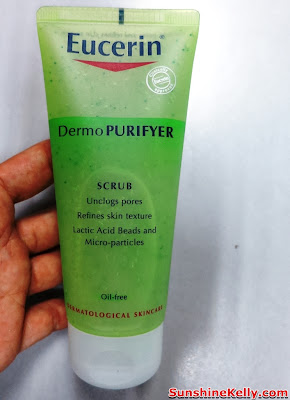 skincare, eucerin, pimples oily combination skin, review, Eucerin DermoPURIFYER Scrub