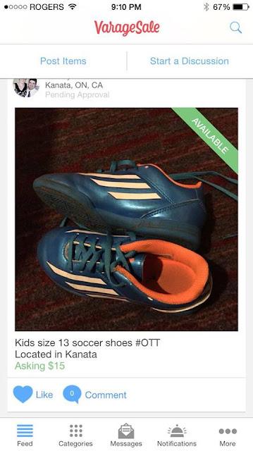 soccer shoes, varagesale ottawa, marketplace app
