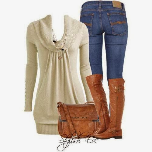 Skin fitting jeans, adorable sweater, brown long boots and handbag for fall