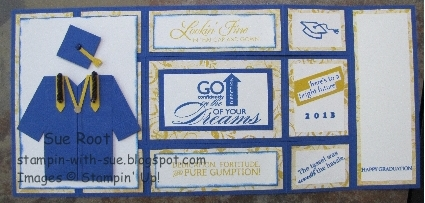 Stampin With Sue Graduation Tri Fold Shutter Card