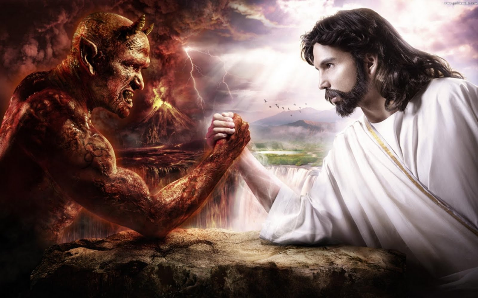 Jesus Christ vs Satan | Gothic Wallpaper Download
