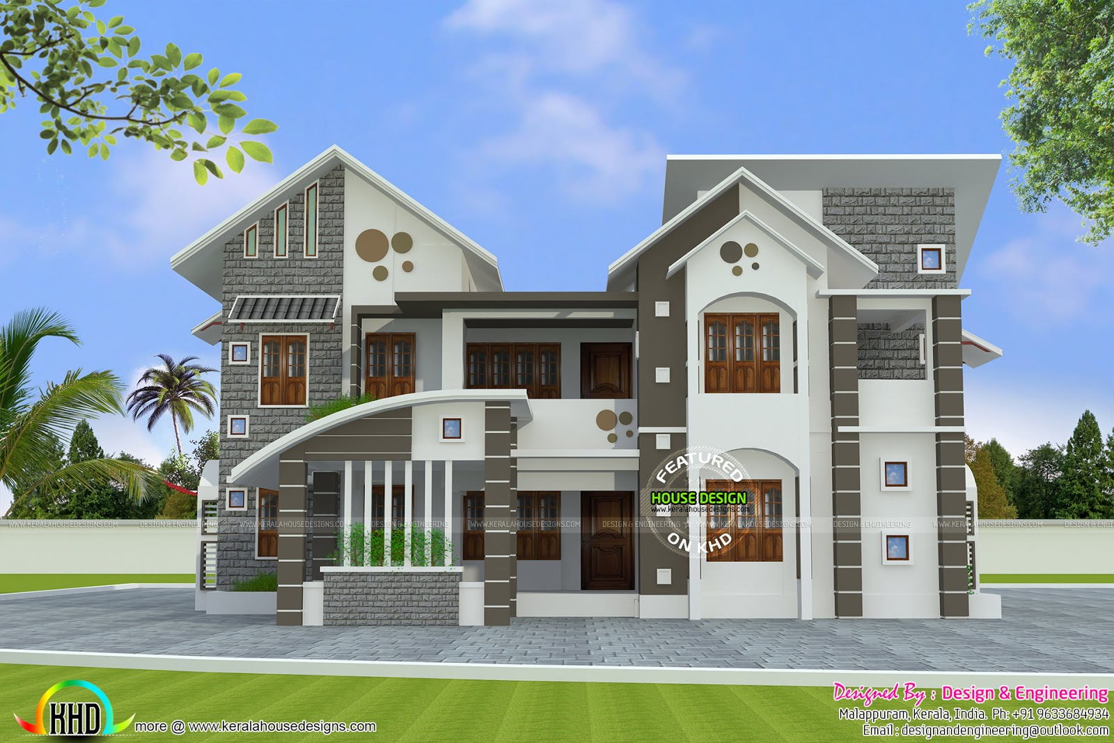 288 square meter mix roof house kerala home design and Designer houses