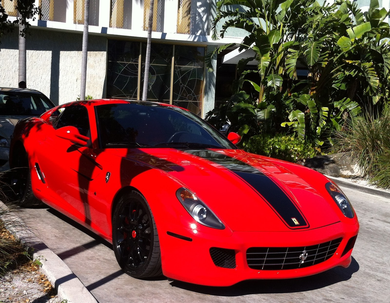red ferrari 599 with black rims exotic cars on the streets of miami - Ferrari Enzo Black Rims