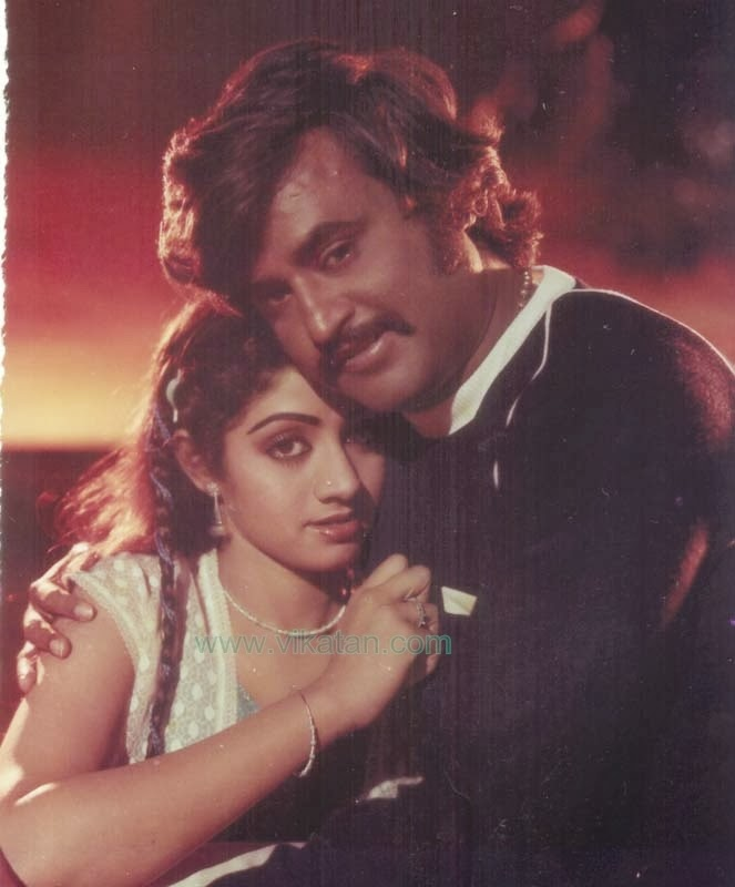 Rajinikanth & Sridevi in 'Pokkiri Raja' (1982) Tamil Movie