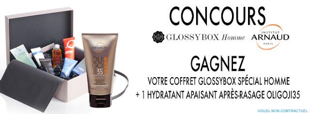 Gagnez 15 Coffrets Glossybox + Hydratant Après-Rasage OLIGOJI35 Institut Arnaud Paris