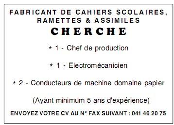 CHERCHE FABRICANT DE CAHIERS SCOLAIRES 02