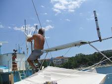 Fil de pêche dans l'éolienne