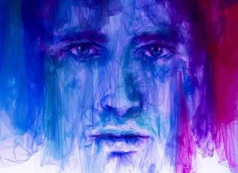 Gambar pria dari kain tulle karya Shine