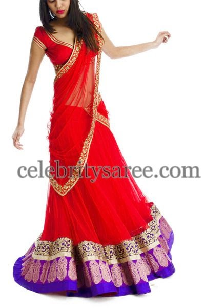 Tomato Red Chiffon Half Saree