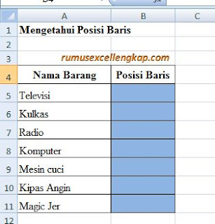 contoh data rumus ROW