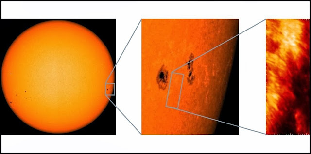 Two images of the chromosphere as captured by the Sunrise solar observatory that flew on a NASA balloon in July 2013. On the left a typical pattern can be seen: dark areas surrounded by bright rims. On the right, the images show bright, stretched structures on the edges of the darker sunspots. Image Credit: MPS