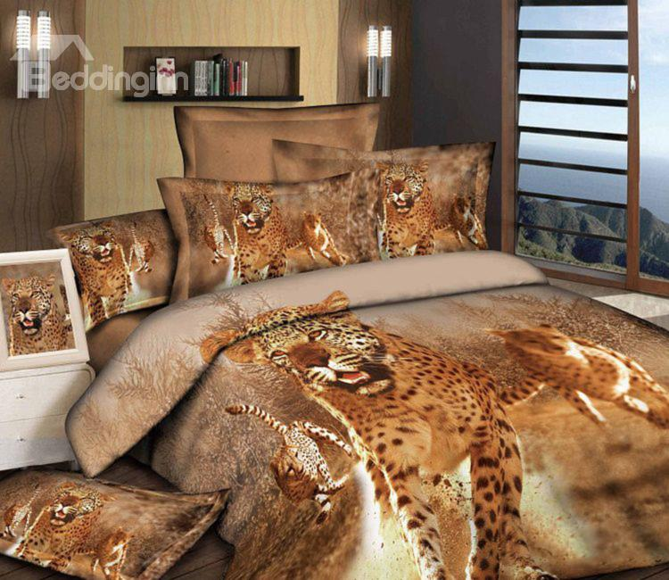 Awesome leopard print 4 piece bedding set at Beddinginn