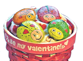 painted rocks, love bugs, Valentine's