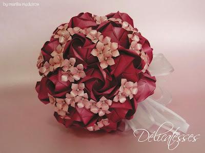 bouquet de origami pink rosa