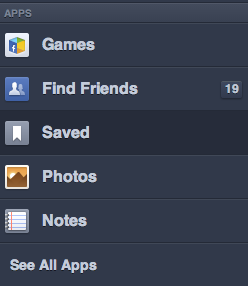 Facebook 'Save it for later' Left Sidebar Saved App