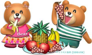 大盛りフルーツとクマのイラスト