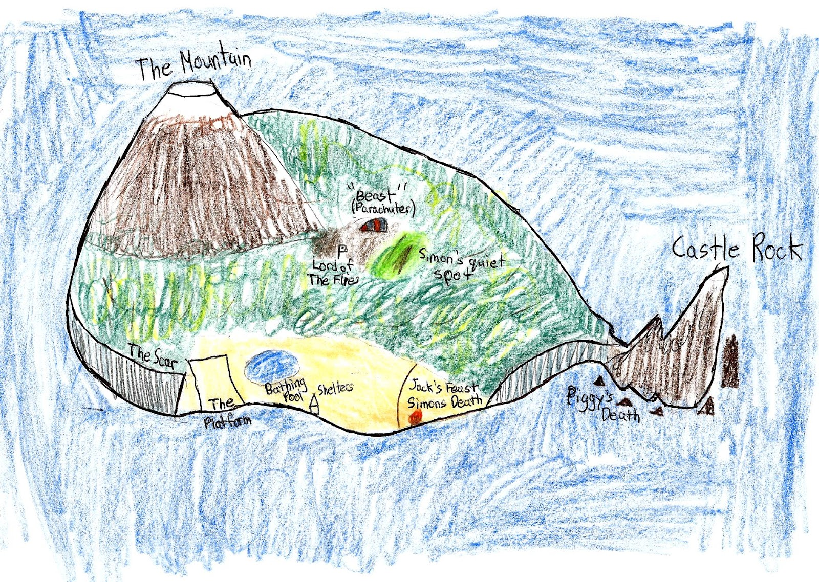 a description of island in lord of the flies by william golding Lord of the flies a novel by william golding contents 1 the sound of the shell 2 fire on the mountain 3 huts on the beach 4  but the island ran true.