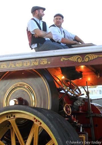 L-R: Sam Henwood, England, Sam Hawkins, Christchurch, on top of a Burrell's Showman Engine. photograph