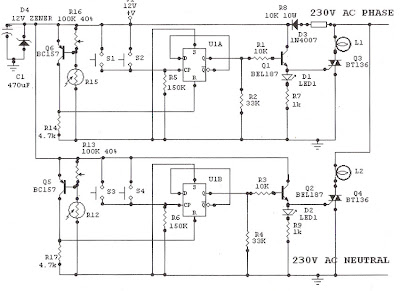 Light Sensitive Staircase Switch with Triac ~ Schematic diagram circuit