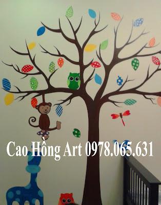 vẽ tranh tường mầm non,vẽ tranh tường quán cafe
