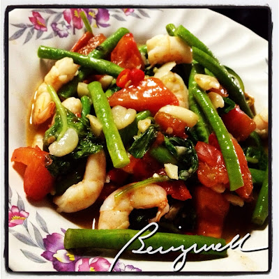Cooking Amaranth Leaves with Shrimps