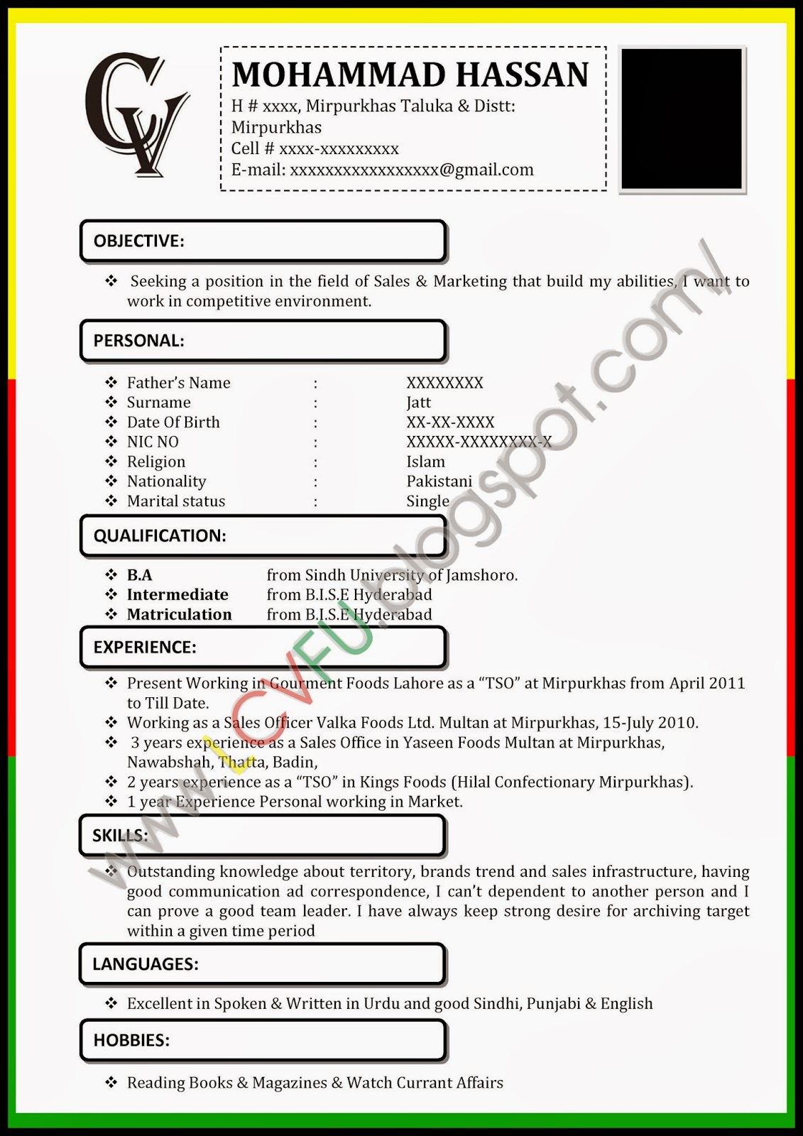 Format of cv with photograph & Affordable Price