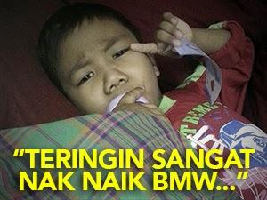 Thumbnail image for Adik Rayyan Penghidap Kanser Teringin Naik Kereta BMW