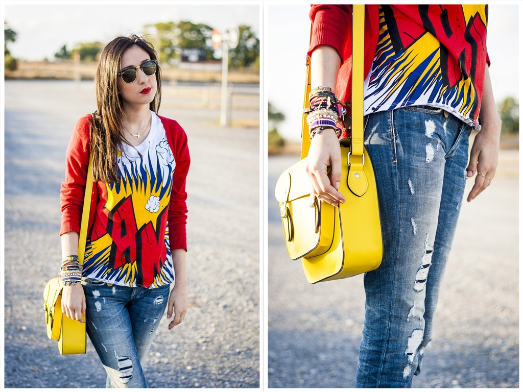 camiseta comic y satchel