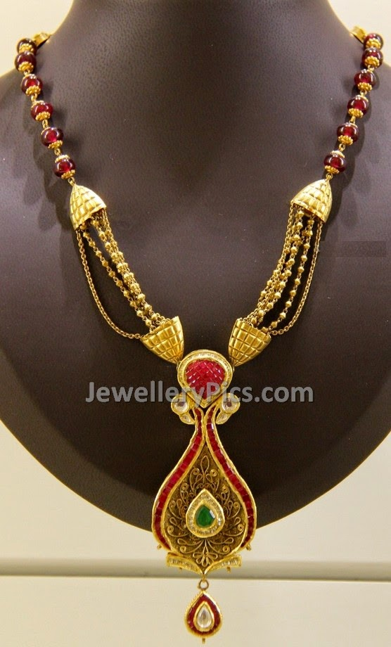 lovely antique finish gold necklace set