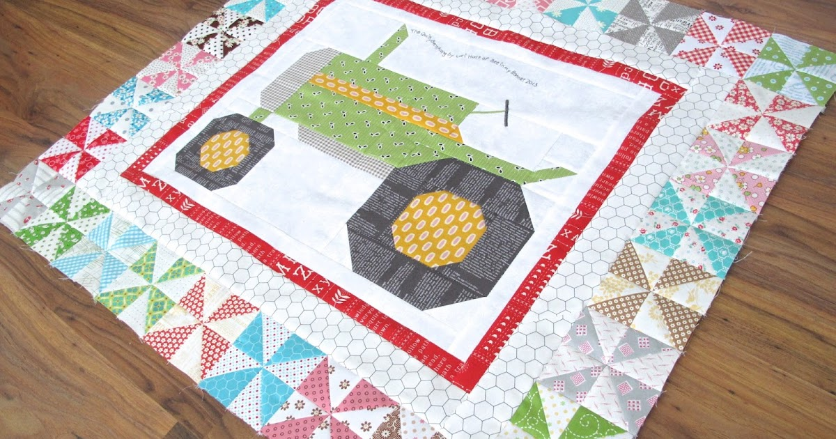 The Quilty Barn Along - Fast and Easy Pinwheels Tutorial for the Vintagey Farm Girl Tractor Block !!!...