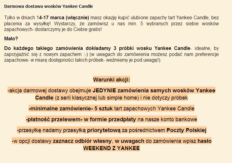 woski yankee candle darmowa wysyłka