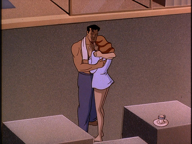 Bruce Wayne hugging Andrea in Batman: Mask of the Phantasm 1993 animatedfilmreviews.filminspector.com