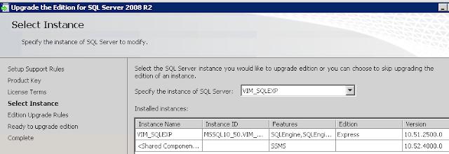 VMWare: VCenter actualizar a SQL Standard