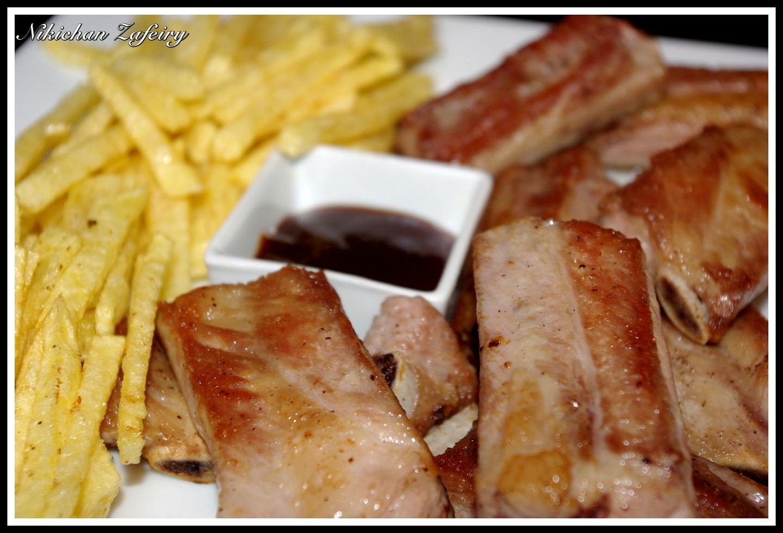 Costilla frita con patatas y salsa barbacoa recetas de for Ingredientes para preparar barbacoa