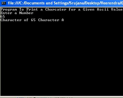 Program For ASCII Value To Charcter 1