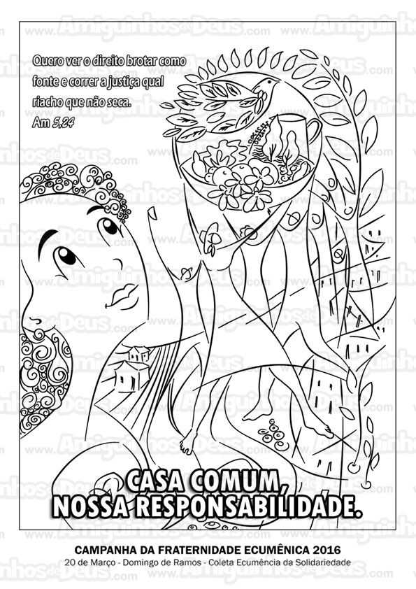 cartaz da campanha da fraternidade 2016 desenho para colorir