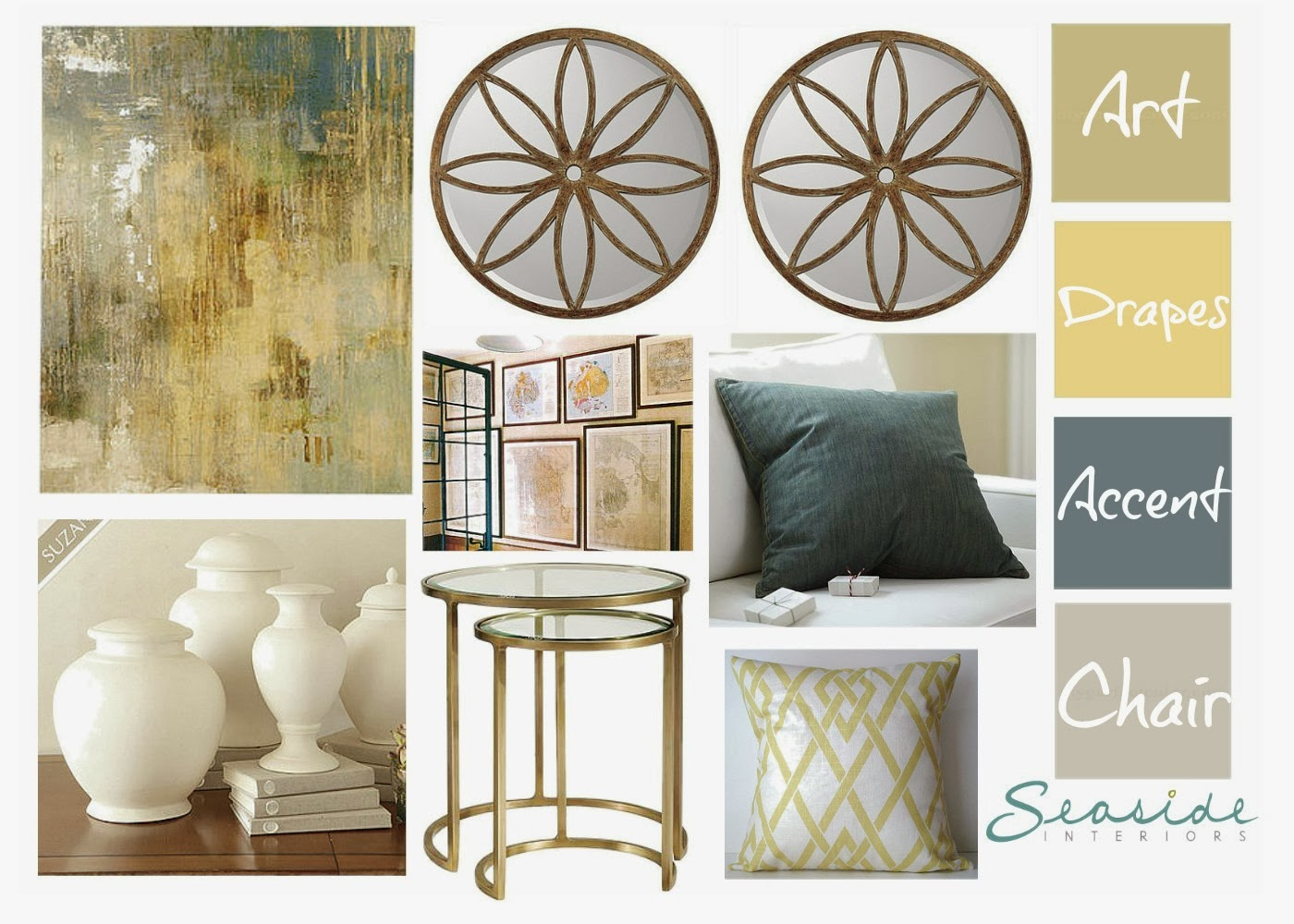My inspiration came from these beautiful deep golden drapes that are already in the room