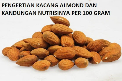 Pengertian Kacang Almond (Badam) dan Kandungan Nutrisi 100 gram