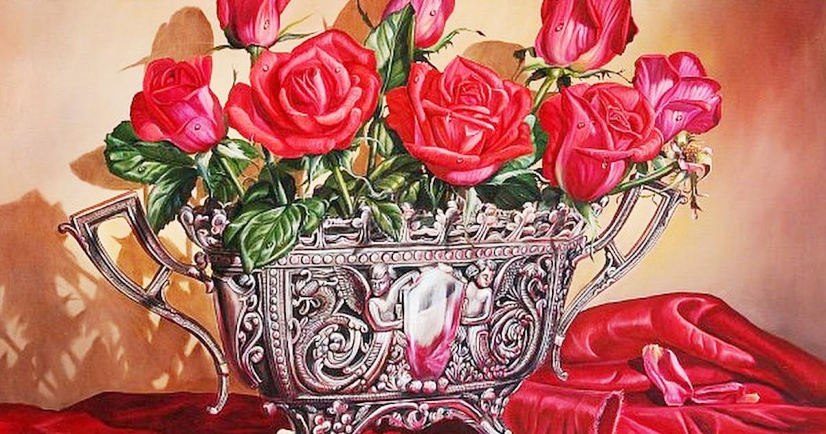 Cuadros modernos arreglos florales pintura realista al leo - Cuadros florales modernos ...