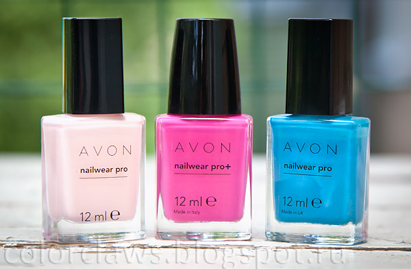 Avon Nailwear Pro Pastel Pink + Viva Pink + Blue Escape